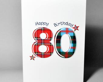 Tartan Number 80 Birthday Card WWTN80