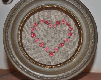 Heart embroidered roses and wooden frame