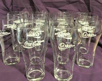 Vintage Libbey Coca Cola 16ounce Glasses.  Coke Glasses.  Libbey Glasses.   Lot442