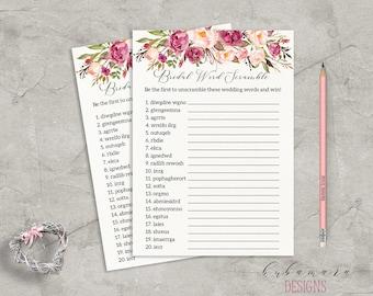 Floral Word Scramble Bridal Shower Game Digital Download Bridal Trivia Pink Peonies Printable Flowers Bohemian Bridal Shower Quiz - BG014