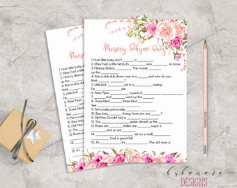 Baby Shower Nursery Rhyme Quiz Game Game Pink Floral Baby Game Trivia Pink Roses Baby Shower Card Digital Printable Baby Activity - CG017