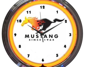 """Antique Style """" Ford Mustang: Since 1964 """" Neon Clock"""