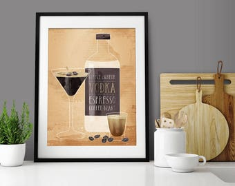 Espresso Martini Drinks Art Print by Green Lili. Coffee Art Print. Coffee Beans. Espresso Print. Wall Art. Wall Decor.