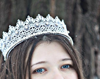 Queen Lace Crown Cosplay Crown Adult Crown Princess Crown Tiara Birthday Crown White Lace Crown Adult  Photo Props Toddler Fairytale Gift