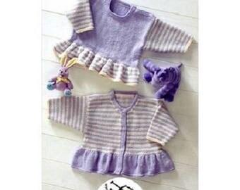 "Knitting Pattern - Baby. Girls Frilled Sweater & Cardigan Knitting Pattern (12""-24""). UKHKA 74, baby cardigan, girls sweater"
