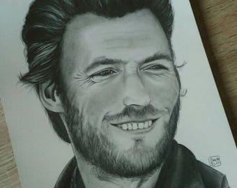 Portrait of actor * Clint Eastwood * graphite pencil