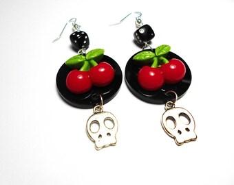 Pin-up Rockabilly cherry earrings