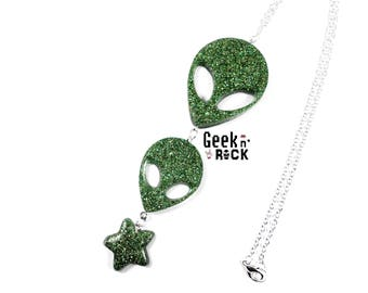 Alien necklace alien UFO space I want to believe cosmic Galaxy
