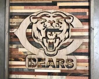 Rustic Chicago bears wall art