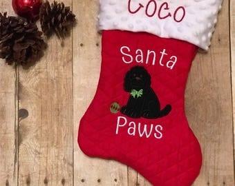 Monogrammed Pet Christmas Stocking, Dog Name on Stocking, Cockapoo Dog Stocking, Customized Dog Stocking, Rescue Dog Stocking, Pet XMAS