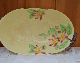 Vintage Carltonware yellow cabbage leaf serving dish/handpainted flowers/ 1930s carltonware