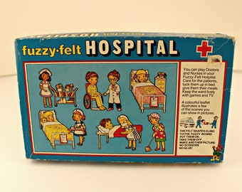 Fuzzy-Felt Hospital Play Set - Made in England - Vintage - Great Condition