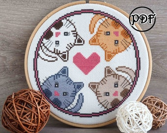 4 cats cross stitch pattern Cat cross stitch Cat embroidery pattern Cat pattern Cat lover Gift for women