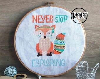 Boho fox baby cross stitch pattern baby cross stitch Baby girl Baby embroidery pattern Fox Cross stitch pattern Fox embroidery pattern pdf