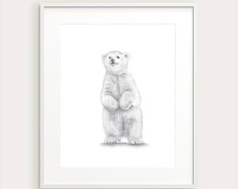 Baby Polar Bear. Nursery Art Print. Baby's Room Decor. Kids Wall decor. Kids Room Print. Baby Animal Print. Nursery Decor. Baby Wall Art