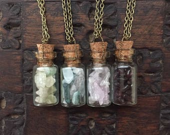 Crystals in a Bottle Necklace