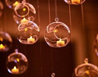"""4.5"""" Bubble Terrarium Hanging Glass Vases Orbs Plant Candle Tea Light - 6pcs"""