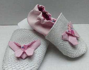 Soft leather slippers pattern Butterfly
