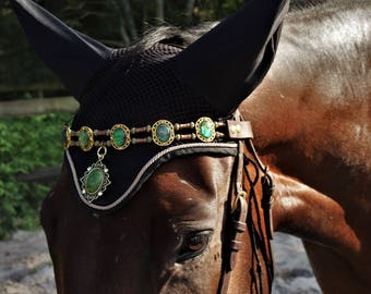"""Horse pony cob bridle  beaded browband green gold """" The Kingly Crown """"  Equestrian Style"""