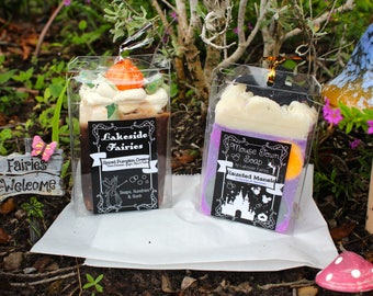 Halloween, Fall, Goth Style, Natural & Organic Goats Milk Soap and Bottle Marker Soap Set