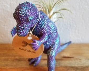 Toy Dinosaur Planter. Upcycled, Repurposed, Purple, Blue, Metallic, Cactus, Succulent, Air Plant. Charming Gift for Family & Friends