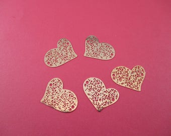 5 insert prints, heart, filigree, connector, gold tone.