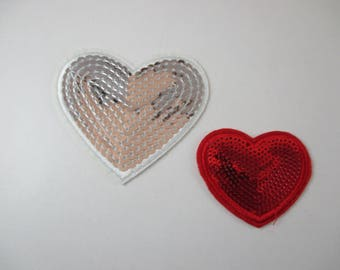 2 patch, 1 large heart and 1 small heart with sparkles, fusible.