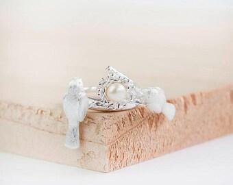Miku Bird Ring, Sterling Silver, Statement Ring, Silver Bird Ring, Bird Jewelry, Bird Nest Ring, Love Bird Ring, Lovebirds, Pea