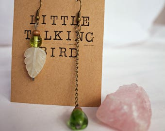 Mismatched Glass Leaf Earrings with Chain Drop