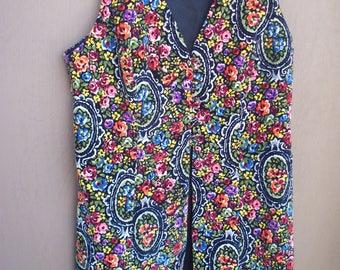 Vintage 60's Young Edwardian by Arpeja Velvet Paisley Vest, Size 4
