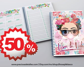 "Agenda 2017 / 2017 Diary A5 Frida Khalo ""live life"" PPTX PDF"