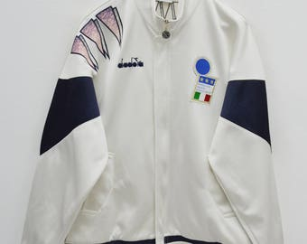 RARE! ITALY DIADORA Track Top Vintage 90's Italy Diadora Euro 92 Made In Japan Track Top Zipper Jacket Sweater Size L