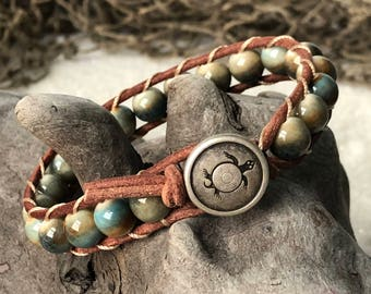 Blue and Brown Beachy Boho Leather Bracelet with Sea Turtle