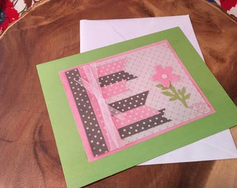 Pink & green thank you card.