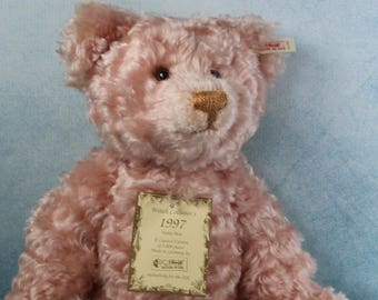 Vintage BOXED Limited Edition Steiff mohair teddy Bear Rose 1997 with working growler and certificate 30th birthday