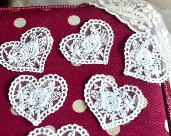 4 pc Embroidered patch, Heart lace patch, Heart applique, Embroidered heart, Lace patch, Off white patch, Applique patch, Shabby chic patch