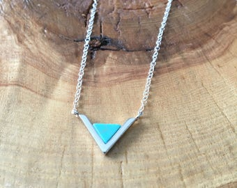 Turquoise Triangle Silver Pendant Necklace; Sterling Silver Chain, Layered necklace, bridesmaid gift, gift for her, minimalist look