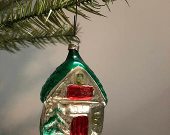 Vintage Christmas Cottage Ornament