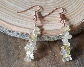 Valentine gift, Lemon yellow Citrine dangle earrings,  pure copper ear wires, Citrine gemstone nugget beads, boho forest jewellery