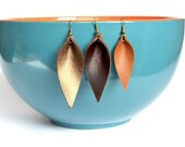 Leather Leaf Shaped Earrings: Joanna Gaines Inspired Leather Leaf Earrings // Your Choice of Signature Leather Color
