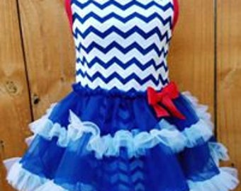 July 4th Chevron Ruffle Dress with Headband 2pc Set Red White and Cute