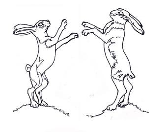 Jackalope Moongazer  Boxing hares