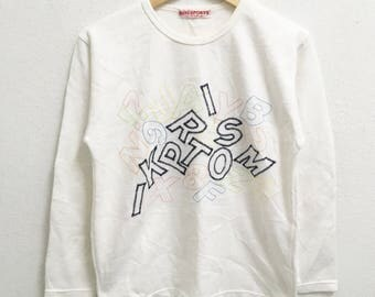 RARE!!! Miki Sports Collection Big Logo Embroidery SpellOut Crew Neck White Colour Sweatshirts Hip Hop Swag M (Ladies) Size
