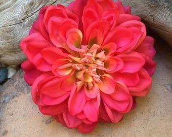 Dahlia Coral/Fuschia large silk flower hair clip