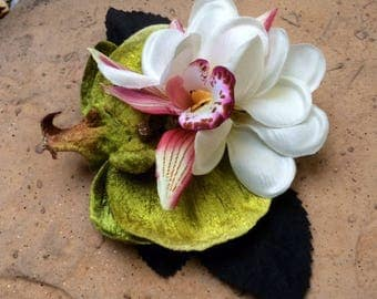 Tropical Holiday Hawaiian Plumerias and Orchids hair clip