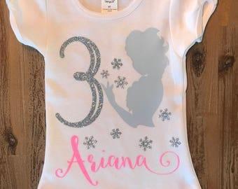 Frozen Birthday Shirt, Princess Elsa Shirt, 3rd Birthday, 2nd Birthday Shirt, Frozen Party, Personalized Frozen Shirt, Disney Frozen Girls