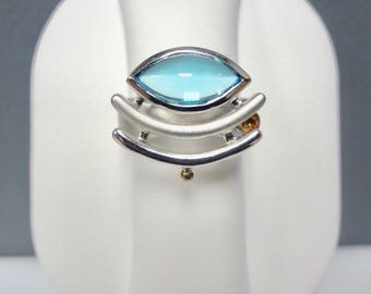 Blue Topaz 925 Sterling Silver and 14k Yellow Gold Ring