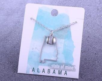 Customizable! State of Mine: Alabama Softball Silver Necklace - Great Softball Gift!