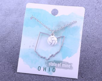 Customizable! State of Mine: Ohio Volleyball Enamel Necklace - Great Volleyball Gift!