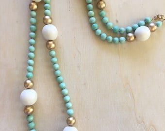 Extra Long Beaded Necklace, Mint Necklace, Single Strand Necklace, Colorful Beaded Necklace, Statement Necklace